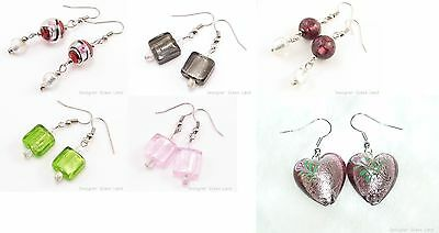 W205B Handmade Wholesale Lot 50 Pairs Lampwork Glass Silver Foil Earrings