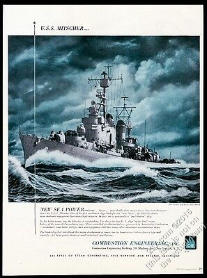 1953 USS Mitscher Navy destroyer ship Combustion Engineering vintage print ad