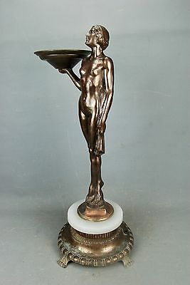 Art Deco Frankart Nude Lady Statue Ash Tray Card Candle Holder Stand Light Base