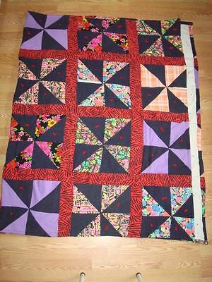 """Red Colorful Crazy Quilt w Machine Pinwheel Patchwork 100""""x64"""""""