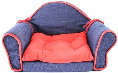 Pet Bed Sofa Couch Lounge Sleeper Blue Denim Red Trim Cat Dog Soft Small