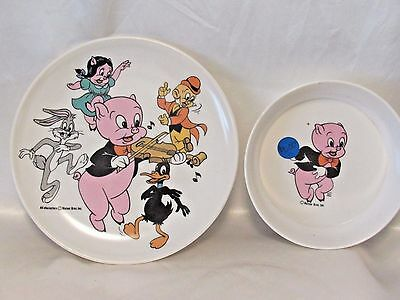 Vintage Warner Brothers Porky Pig & Characters Cereal Bowl and Plate