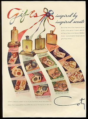 1939 Coty L'Aimant Paris Emeraude L'Origan perfume bottle photo vintage print ad