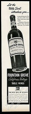 1947 Fountain Grove Sonoma Burgundy wine bottle photo vintage print ad