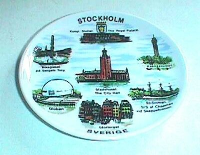 Stockholm Sweden Souvenir Small Plate About 3 3/4 Inch Diameter