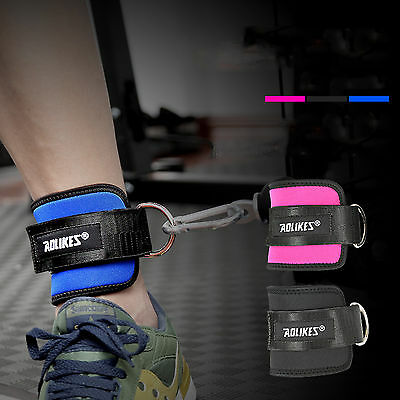Gym Weight Lifting D-ring Ankle Straps Cable Attachment Strap Fitness Exercise