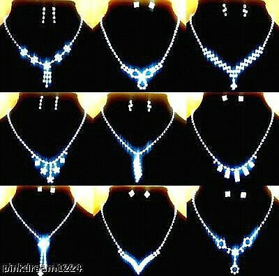 New Lots Fashion 10Sets Mixed Styles Rhinestone Necklaces Earrings S N482