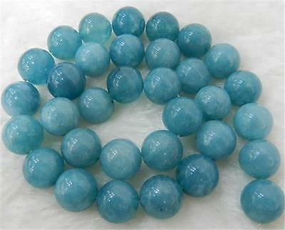 """NEW Faceted 14mm Brazilian Aquamarine Gems Round Loose Beads 15"""" Strand"""