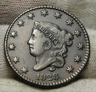 1828 Penny Coronet Large Cent - Nice Coin, Free Shipping  (4796)