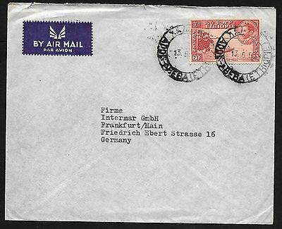Ethiopia Airmail Flight Cover Solo 60c Stamp to Germany 1952