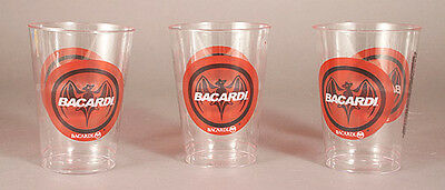 24 BACARDI Clear Plastic Cups with BACARDI LOGO AND BAT- 12 ounce - New!!!