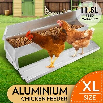 11.5L Chicken Feeder Chook Poultry Aluminium Automatic Treadle Self Opening Coop