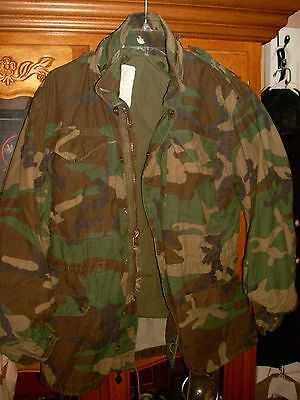 GREEN WOODLAND CAMO M65 FIELD JACKET COAT COLD WEATHER SMALL SHORT SS unisex