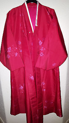 "NEW Vintage 1950s Circa Kimono Jacket One Size Red w/ Floral Pattern 48"" Length"