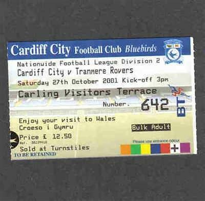 Football match / game ticket Cardiff City v Tranmere Rovers 27/10/01