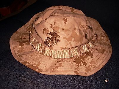 Boonie Cover Hat Desert Usmc Marine   Size  Large  Great Shape  Used