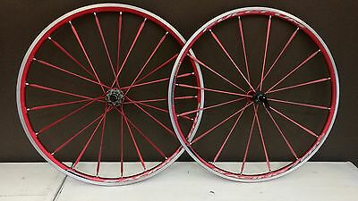Fulcrum Racing Zero clincher road bicycle all red wheelset Campagnolo VGC Shamal