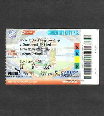 Football match / game ticket Coventry City v Southend United 30/12/06
