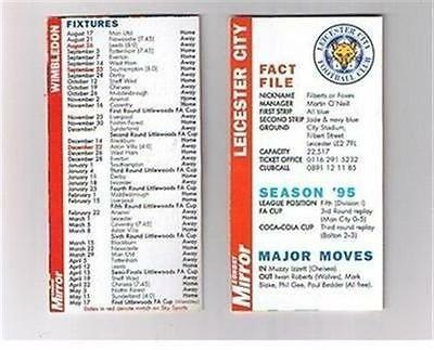 Sunday Mirror Fact File 1996 football fixture card - Leicester City FC