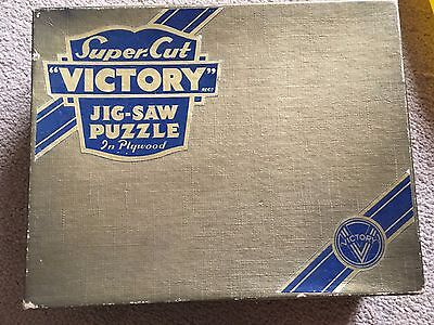 Vintage SuperCut Victory Gold Box wooden jigsaw puzzle line cut whimsies 300 pcs