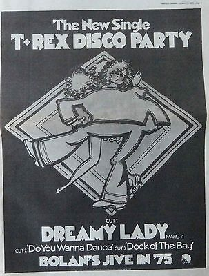 MARC BOLAN- T.REX : Dreamy Lady -Poster Size NEWSPAPER ADVERT- 1975 30cm X 40cm