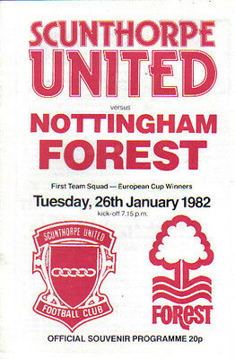 1982  SCUNTHORPE UNITED  v  NOTTS FOREST (FRIENDLY FIXTURE)