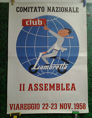 Affiche Originale Ancienne Club Lambretta Viareggio 1958 Vespa Cycles Motos