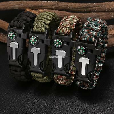 DELUXE PARACORD SURVIVAL BRACELET Compass Fire Camping Whistle Hiking Army Gear
