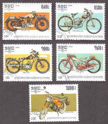 CAMBODIA/KAMPUCHEA (09/1) 1985 Motor Cycles Transports 5 Diff. Stamps !