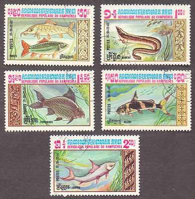 CAMBODIA/KAMPUCHEA (03/1) 1983 Fishes 5 Diff. Stamps ! Gift Children !