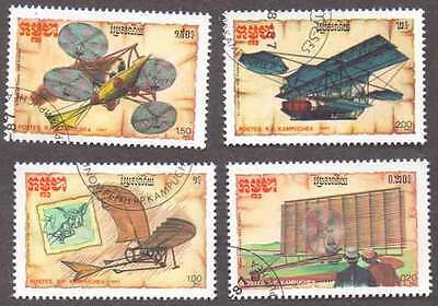 CAMBODIA/KAMPUCHEA (15/1) 1987 Aeroplanes Aviation 4 Diff. Stamps! Gift Children