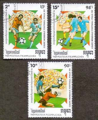 CAMBODIA/KAMPUCHEA (23/1) 1989 Football Sports 3 Diff. Stamps ! Gift Children !