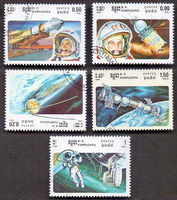 CAMBODIA/KAMPUCHEA (10/1) 1985 Space Science Rockets 5 Diff. Stamps !