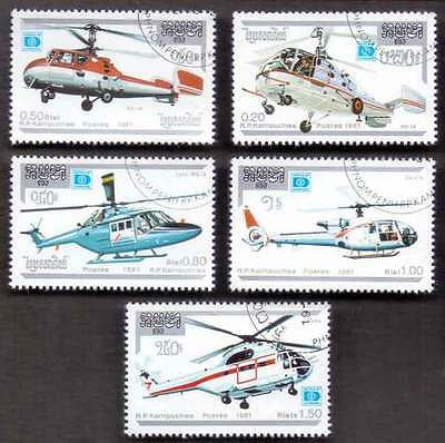 CAMBODIA/KAMPUCHEA (17/1) 1987 Helicopters Aviation 5 Diff. Stamps !