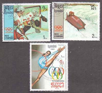 CAMBODIA/KAMPUCHEA (18/1) 1987 Olympic Games Sports 3 Diff. Stamps !