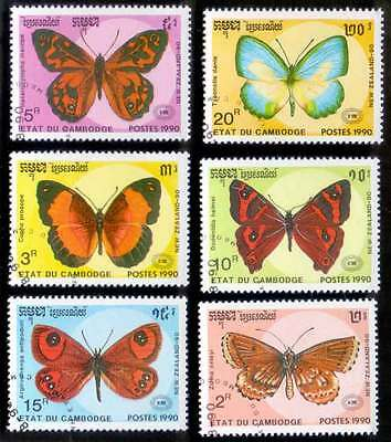 CAMBODIA/KAMPUCHEA (28/1) 1990 Butterfly 6 Diff. Stamps ! Gift Children !