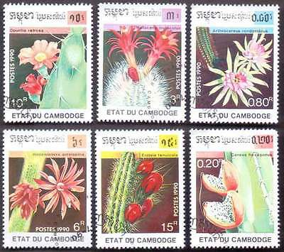 CAMBODIA/KAMPUCHEA (29/1) 1990 Cactus Flowers 6 Diff. Stamps ! Gift Children !