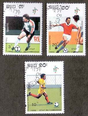 CAMBODIA/KAMPUCHEA (32/1) 1990 Football Sports 3 Diff. Stamps ! Gift Children !