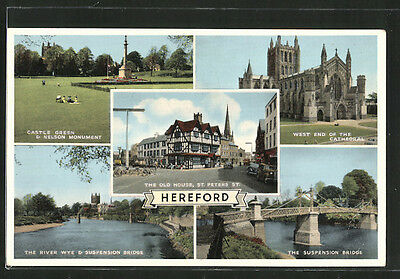 schöne AK Hereford, the Suspension Bridge, Castle Green and Nelson Monument 196