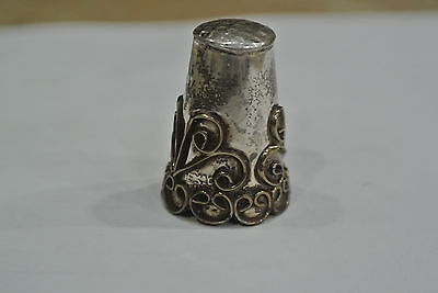 Sterling Silver Wire Work Filigree Ornate Thimble Signed Mexico Taxco
