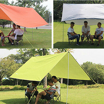 Protable Outdoor Tent Tarp Picnic Camping Tarp Shelter w/Tent Stake 5 Colors