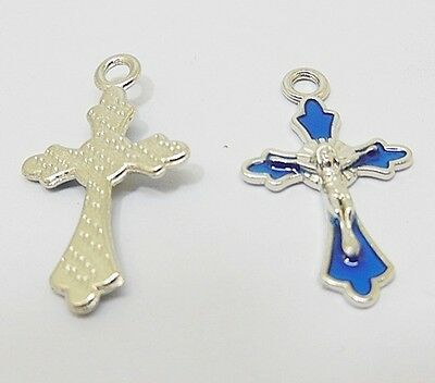 100X Enamel Blue Cross Pendant Jewellery Finding 3.1x2.8x0.3cm