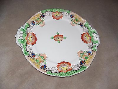 Antique Beautiful Handled Floral Plate Noritake? Red M Japan