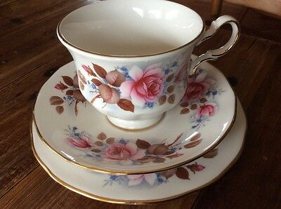 Queen Anne Trio England Floral Roses Tea Cup Saucer Cake Plate Used High Tea