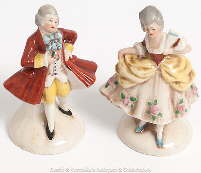 Vintage GERMAN Companion Pair Dresden Style Miniature Figurines Porcelain 20940
