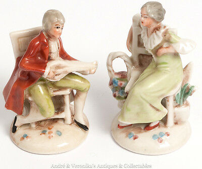 Vintage GERMAN Companion Pair Dresden Style Miniature Figurines Porcelain 20374