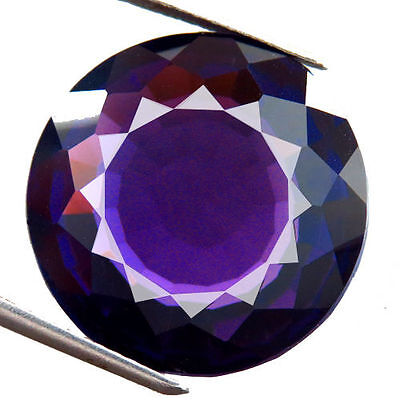 LARGE 14mm ROUND-FACET DEEP-PURPLE NATURAL AFRICAN AMETHYST GEMSTONE (APP £166)