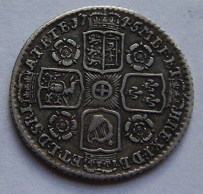Sixpence George II 1745 Roses