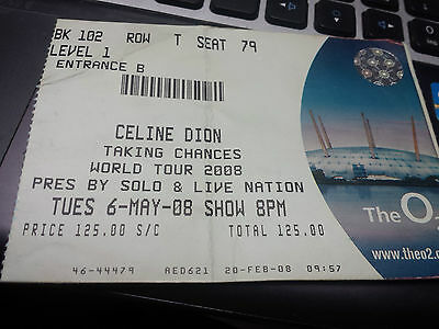 Celine Dion ticket, The 02, London,May 2008