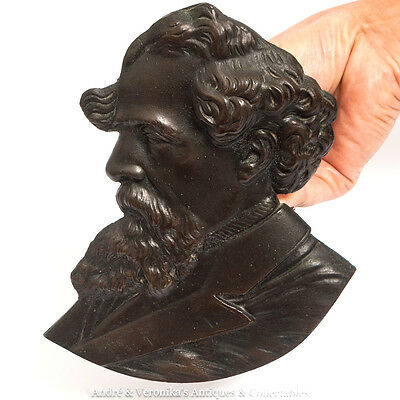 """Antique Bronze CHARLES DICKENS Bust 7"""" Wall Plaque Patina Vintage Great Writer"""